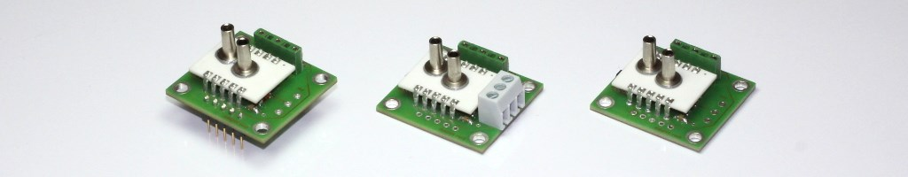 Different types of the Pressure Sensor Module series AMS 2710/11 with analog voltage output.