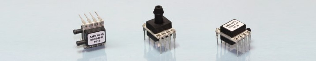 Different types of the digital OEM pressure sensor series AMS 6915 with I2C output.